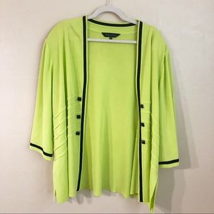 Ming Wang Lime Green Studded Open Jacket